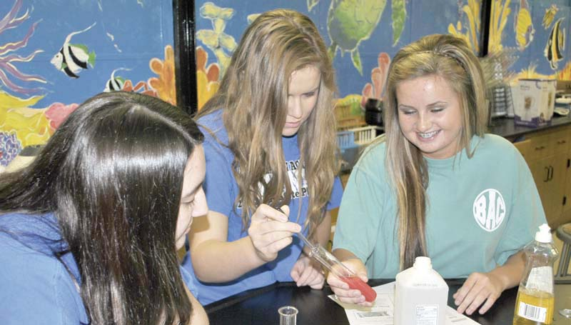 DAILY LEADER / RHONDA DUNAWAY / Brookhaven Academy High School students (from left) Hannah Allen, Jenna Wright and Molly Allen extract DNA from strawberries and broccoli in the BA school science lab last week. A BA student experiment will be one of 15 student projects nationwide selected for a mission to the International Space Station.
