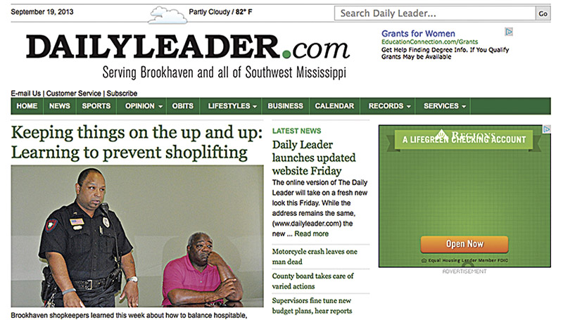A screen capture shows the new look for www.dailyleader.com. The redesigned website launches Friday.