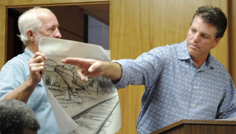 DAILY LEADER / JUSTIN VICORY / Chad Smith (from right) requests approval from the board of aldermen Tuesday night to relocate an F-86 Sabre jet from Hazlehurst to Brookhaven, while Randall Smith holds a rendering of the jet as it would look relocated to downtown Brookhaven.