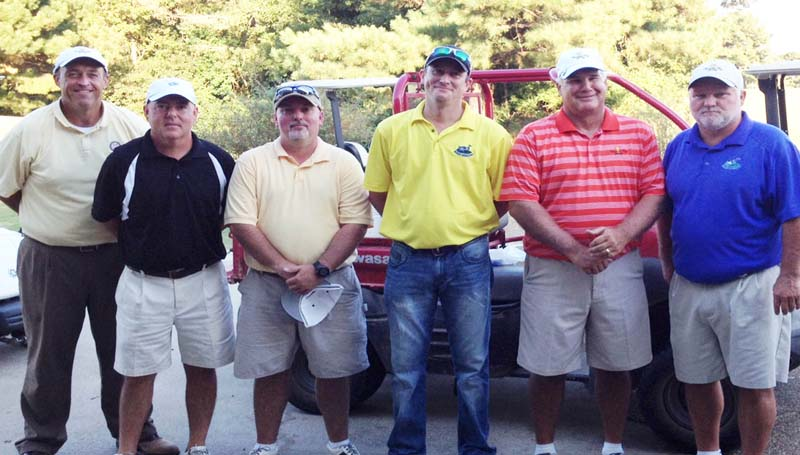 DAILY LEADER / SUBMITTED / CHAMPIONSHIP FLIGHT - Winning the championship flight in Copiah-Lincoln Community College's Homecoming Golf Tournament at Wolf Hollow were (from left) Ronny Ross and Craig Hennington, third place; Tim Sutton and Scott Langley, second place; and Chris Lofton and Ricky McInnis, first place.