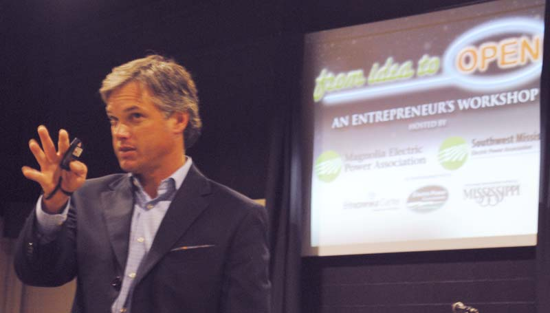 """DAILY LEADER / JUSTIN VICORY / David Parker, senior vice president of economic development for the Electric Power Associations of Mississippi, outlines strategic business practices at Thursday's """"From Idea to OPEN"""" workshop at the Lincoln Civic Center."""