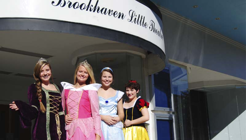 "DAILY LEADER / TAMMIE BREWER / Maddie Ogden as Rapunzel (from left), Katherine Shell as Sleeping Beauty, Dannah Berry as Cinderella and Nealey Brown as Snow White are among the princesses that will be welcoming children to ""Halloween at The Haven"" Tuesday, Oct. 29."