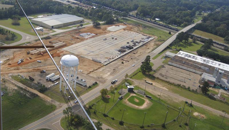An aerial view of the industrial park, showing American Railcar's new site and Keystone Park, is shown Monday