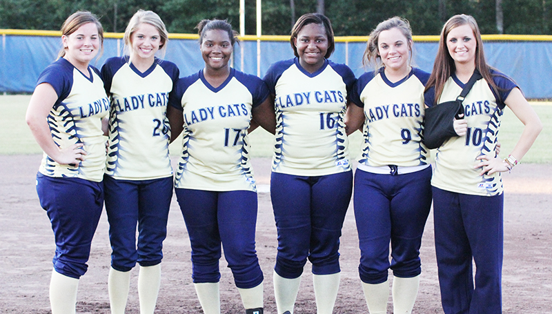 DAILY LEADER / AMY RHOADS / Bogue Chitto recognized their slowpitch softball seniors Thursday night, including (from left) Jordan McKinney, Mattie Avants, Earlnesheia Dillon, Marshonikique Blackwell, Jaide McKinney and Alexis Givens.