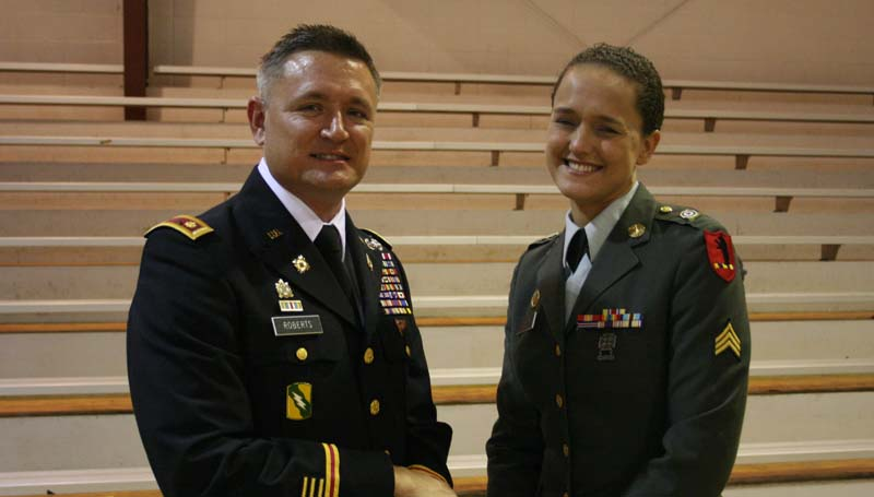 DAILY LEADER / MARTY ALBRIGHT / Enterprise Veterans Day speaker Major Rollin Roberts is shown with his wife, Marcella Roberts.