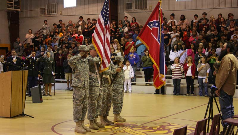 DAILY LEADER / MARTY ALBRIGHT / Members of the Mississippi Army National Guard present the colors at the Enterprise program.