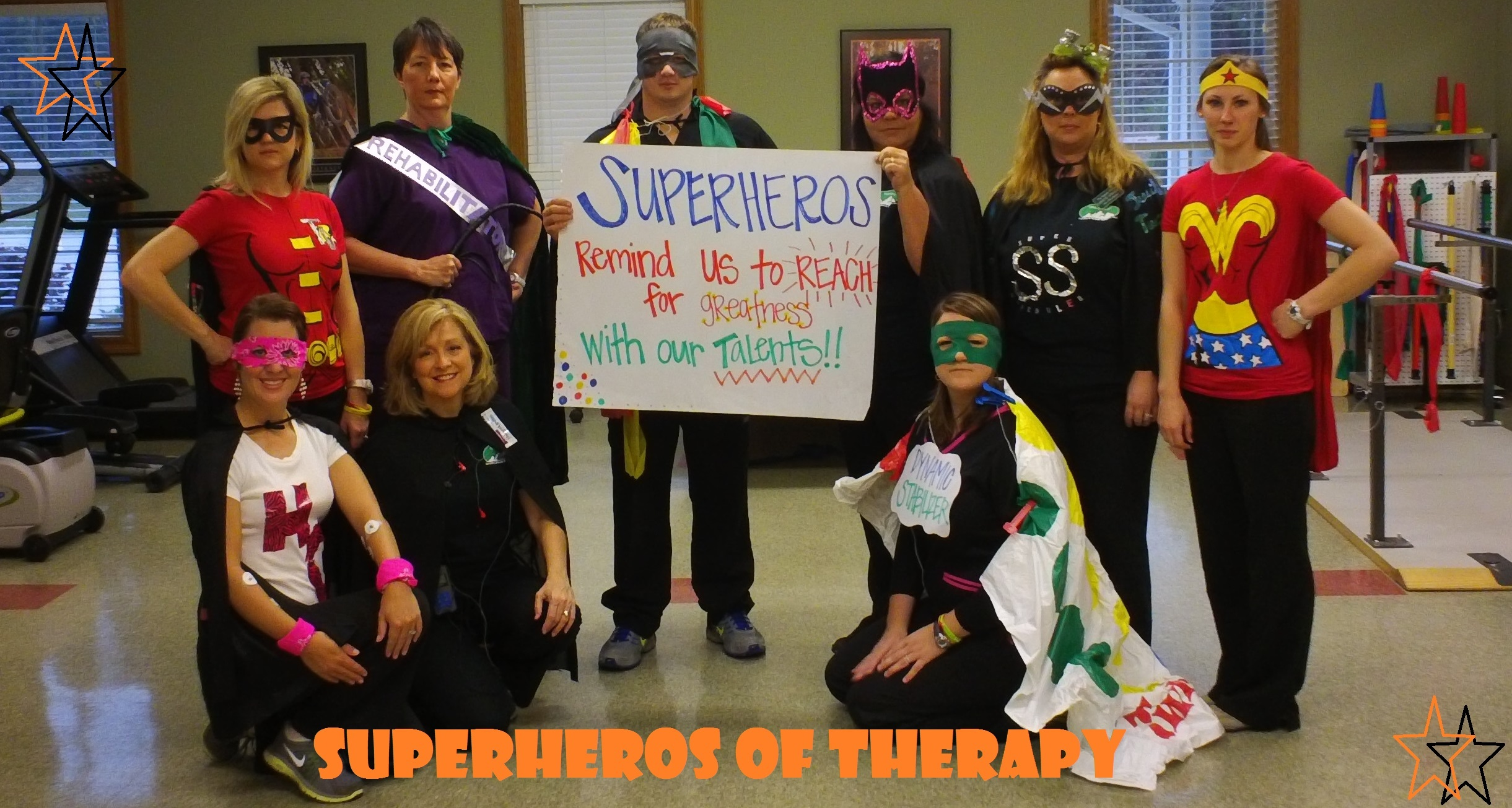 "PHOTO SUBMITTED / The ""Super Heros"" at the Summit Health and Rehab Outpatient Clinic are (standing from left) ""Tactile Defender,"" aka Amie Wiggington - OTR;""Rehabilitator,"" aka Vickie Russell - PT; ""Theraband Man,"" aka Tanner Cothren - PTA; ""Mighty Medical Records Woman,"" aka Missi Robinson - receptionist; ""Super Scheduler,"" aka Christie Granger - office manager;"" Wonder Words Woman,"" aka Misty Barrett - SLP; (front row from left) ""Hiva Girl,"" aka Johnna Price, PTA; ""Valiant Victoria Vital - Stim,"" aka Teresa Lomax, SLP; and ""Dynamic Stabilizer,"" aka Rebecca Newman - DPT.  These heroes said they enjoy assisting their clients to ""reach for greatness"" every day!  The clinic is located in Summit."