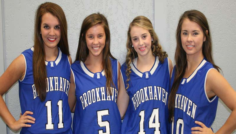 DAILY LEADER / MARTY ALBRIGHT / Seniors playing for the Brookhaven Academy Lady Cougars are (from left) Anna Carollo, Madison Warren, Lindsey Winborne and Caroline Stewart.