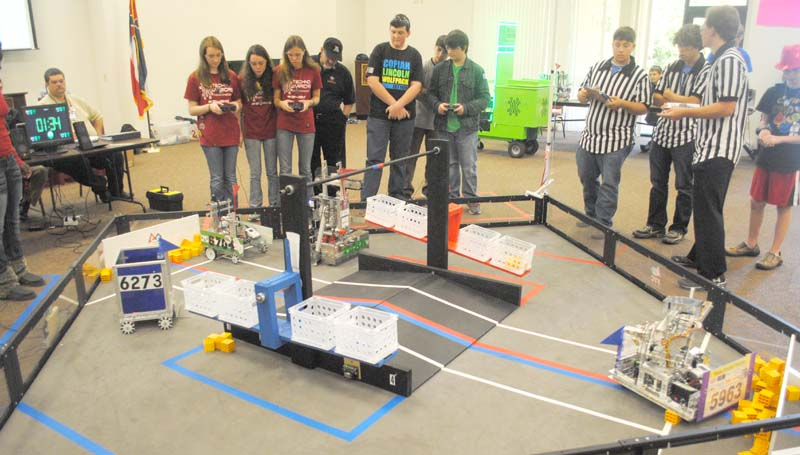 THE DAILY LEADER / JUSTIN VICORY / High school students from Southwest Mississippi take part in a 10-team qualifying robotics competition, known as the First Tech Competition, or FTC at Copiah-Lincoln Community College Saturday. The top three teams will go on to compete at the state level in Oxford Feb. 8.