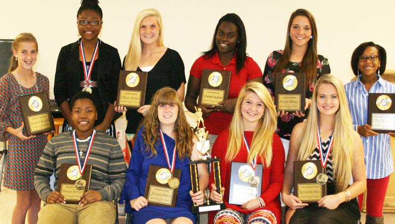 DAILY LEADER / MARTY ALBRIGHT / Brookhaven slowpitch softball awards went to (seated, from left) Danielle Batteast, Best Defensive Player, All-District; Julianna Porter, Best Offensive Player, All-District; Alycen Speaks, Scholastic Award, All-District; Katherine Shell, Most Valuable Player, All-District; (standing) Katherine Wallace, Rookie of the Year; Jada Henderson, All-District; Haley Speaks, Panther Award; Chantel Quarles, Most Improved; Fallon Brooks, Hustle Award; Tia Bussey, Perseverance Award.