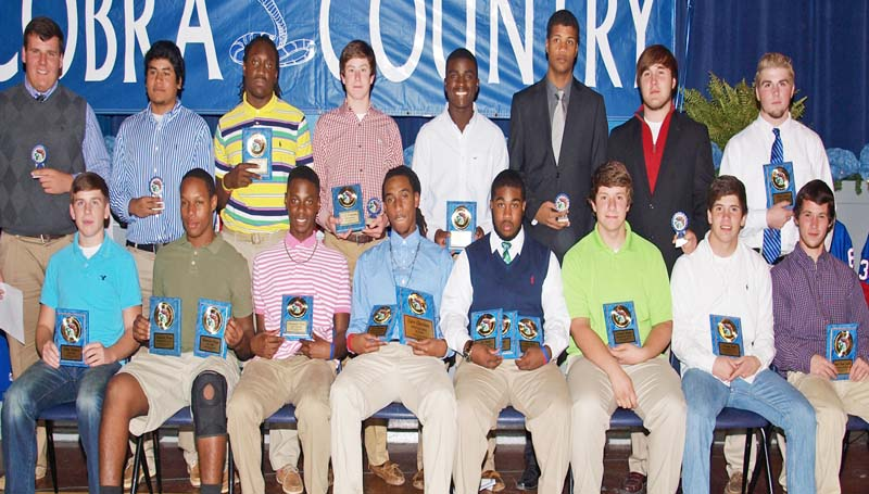 "DAILY LEADER / TRACY FISCHER / The Wesson football team was honored during a fall banquet. Players receiving awards were (seated from left) Dillon Blaylock - Iron Cobra; Kendrick Brown - Iron Cobra, Best Defensive Player; Dartavious Dixon - Most Versatile; Tyler Christmas - Best Offensive Player, Most Valuable Player; Otis Smith - Best Offensive Back/Receiver, Best Defensive Lineman, Team Captain, Senior; Mitchell Hughes - Best Offensive Lineman, Senior; Timothy Craft- Best Defensive Back; Dustin ""Melvin"" Jackson - Jim Lowery Attitude Award, Senior; (Standing from left) Chace Twiner - senior; Luis Mellado - senior; Nick Lewis - Team Captain, senior; CJ Viramontez - Most Improved, senior; Javoris Smith- Best Defensive Back, Senior; Tayo Oyebola - senior; Adam Hamilton - senior; Blake Burns - Coaches Award.  (Not Pictured - Josh Francois - senior)"
