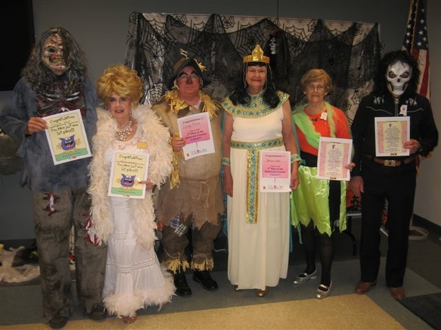 PHOTO SUBMITTED / Winners of the annual Dixie Dancers Halloween costume contest winners at the Jimmy Furlow Senior Center are: (from left) Doyle West (Zombie), first place; Winnie Lowery (Dolly Parton), first place; Carey Moak (Scarecrow), second place; Bessie West (Cleopatra), second place; Joyce Hughes, third place; and Billy Hughes, third place.