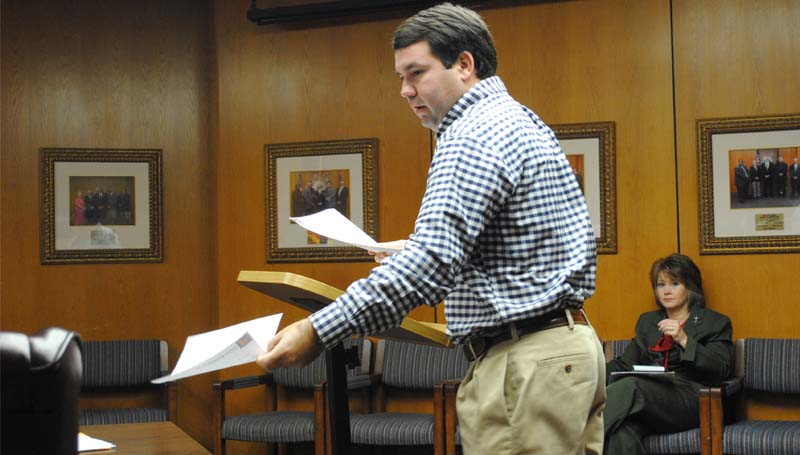 THE DAILY LEADER / JUSTIN VICORY / Ryan Holmes of Dungan Engineering speaks to the board of supervisors on the status of county road improvements at Monday's meeting.