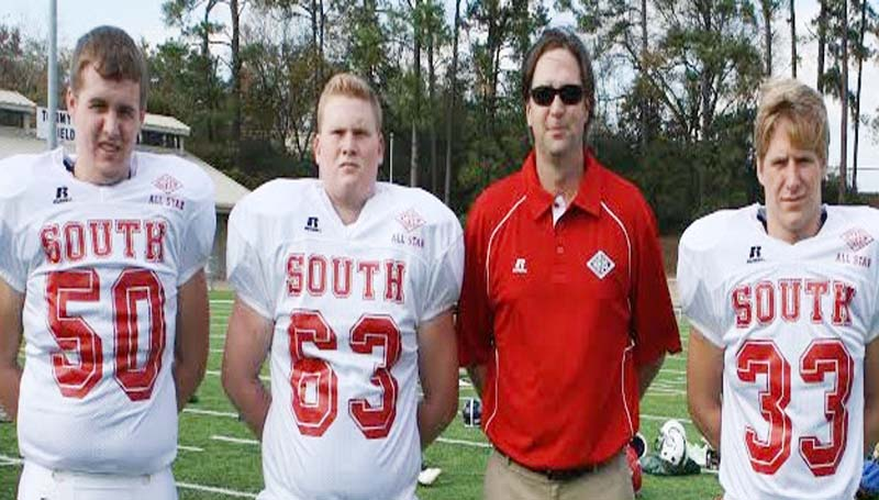 DAILY LEADER / SUBMITTED / Representing Brookhaven Academy in the 2013 MAIS All-Star game at Mississippi College are (from left) Travis Thornton (50), Cody Thornhill (63), Coach Tripp McCarty and Landon Nettles (33).