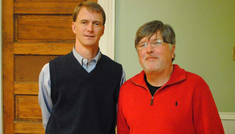 THE DAILY LEADER / RHONDA DUNAWAY / Brookhaven-Lincoln County Chamber of Commerce incoming president for 2014 Dustin Walker (from left) took over from outgoing president Pat Lowery Monday afternoon.