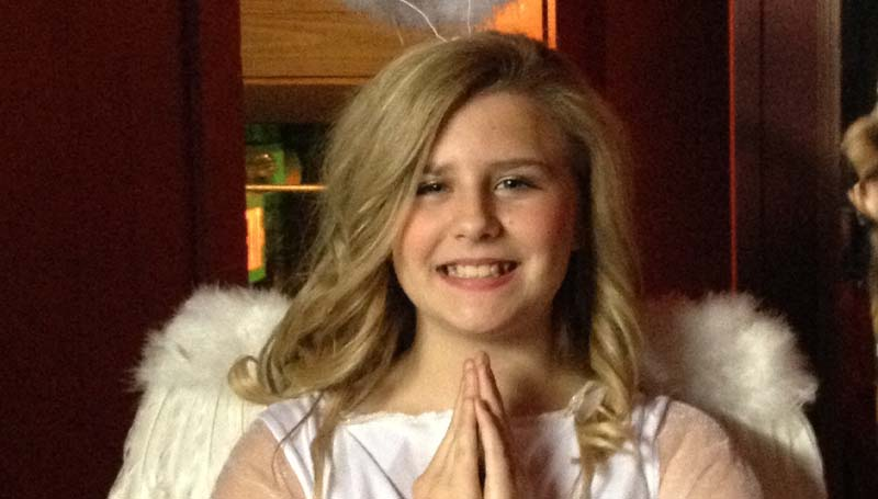 """PHOTO SUBMITTED / """"Gabriella the angel"""" is portrayed by """"Sally"""" (Bailey Pounds) in the """"McCord's Ferry Christmas Pageant,"""" a play within the play, """" FrUiTcAkEs."""" The Brookhaven Little Theatre holiday production is Friday, Dec. 13, and Saturday, Dec. 14, at 7:30 p.m. at the Haven Theatre."""