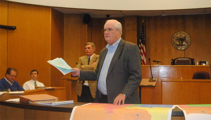 THE DAILY LEADER / JUSTIN VICORY / Lincoln County Board of Supervisors attorney Bob Allen addresses the public over proposed changes to district maps Monday night in the Lincoln County circuit courtroom.