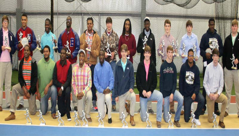 DAILY LEADER / MARTY ALBRIGHT / King's Daughters Medical Center honored their local and area Offensive and Defensive players of the week during a fall football banquet at the KDMC Performance Center. Players receiving awards were (kneeling, from left) Ty Hill, Anthony Wilson, Josh Cole, Tre McDaniel, La'Treall Smith, Heath Hickman, Bailey Warren, Jackson Cole, Kayin Perkins, Thomas Weeks (Standing) Stephen Springfield, Fred Trevillion, Ken Boyd, Keefa Nelson, Jared Dillon, Hayden Davis, Tyler Christmas, Syrshawn Fitch, Peyton Flowers, Brock Roberts, Jeremy Blackwell and Tyler Moak.