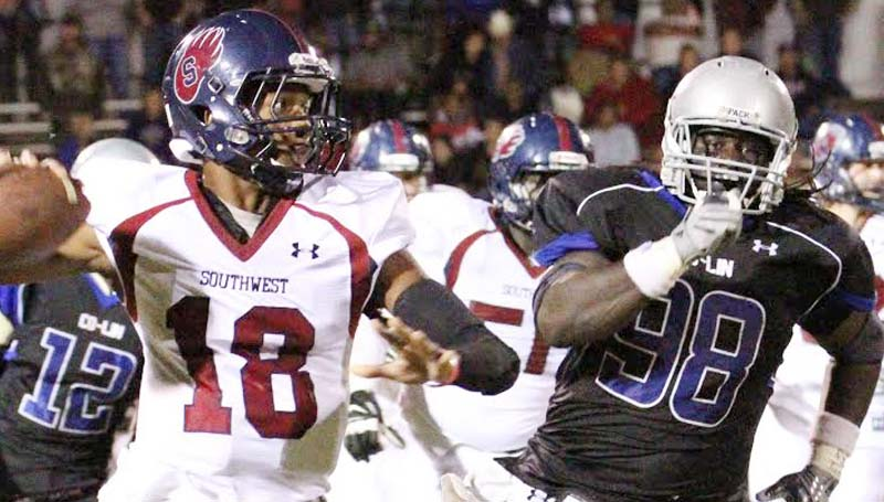 CO-LIN MEDIA / NATALIE DAVIS / Co-Lin freshman defensive lineman Demond Tucker (98) was selected the NJCAA 2013 Defensive Player of the Year. Tucker is the first to receive this huge honor for the Wolves.