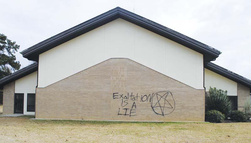 DAILY LEADER / JUSTIN VICORYThe north wall of the Church of Jesus Christ of Latter-day Saints on Ingram Street was vandalized sometime between Christmas Eve on Tuesday and early Friday morning.