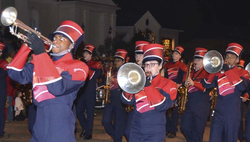 The Brookhaven High School Marching Band strikes up some festive music to get the crowd in a Christmas mood.