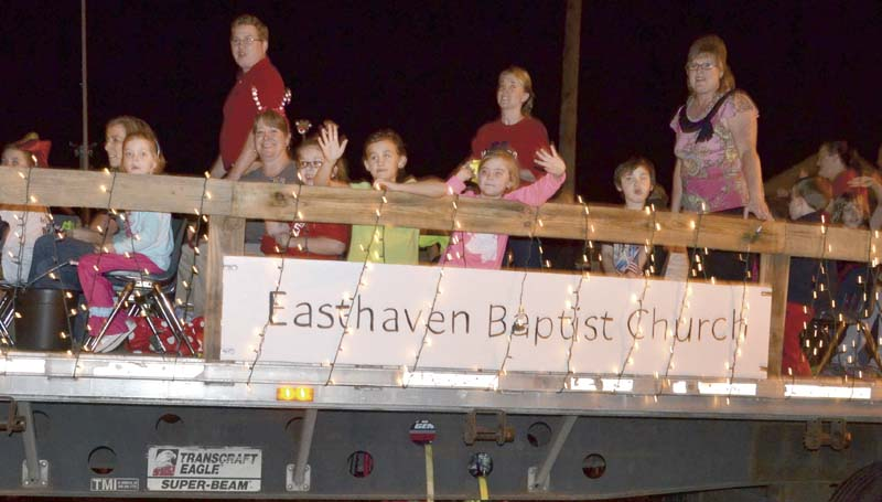 """Easthaven Baptist Church's float, celebrating """"In God We Trust,' won the religious category."""