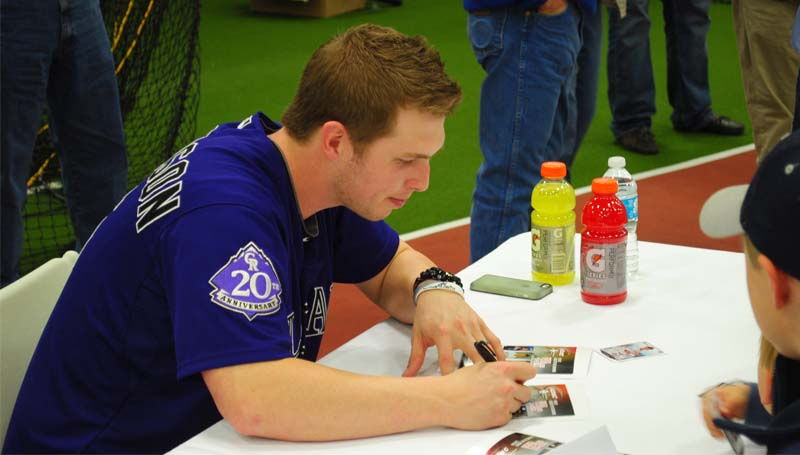 THE DAILY LEADER / JUSTIN VICORY / Colorado Rockies outfielder Corey Dickerson came home to Brookhaven Thursday night for an autograph signing event with other major league baseball players at the King's Daughters Medical Center Performance Center.