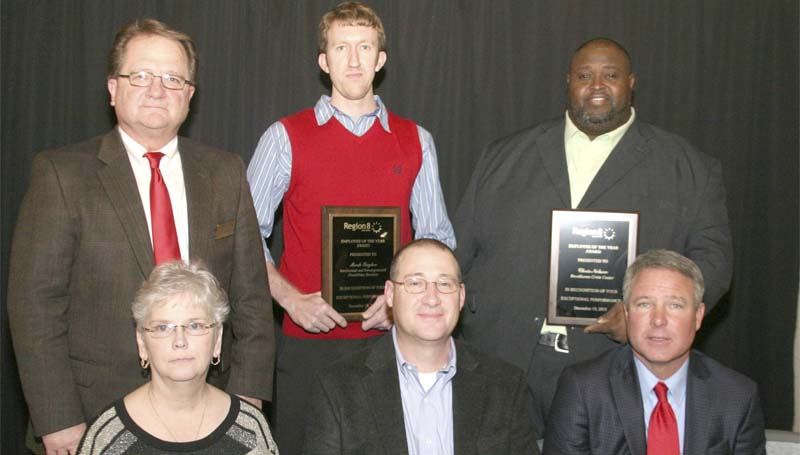 PHOTO SUBMITTED / Region 8 Mental Health recently held their 2013 Annual Awards Ceremony at the Hinds Community College Muse Center in Pearl.  Employees were honored for outstanding performance, professionalism, and five, 10 and 15-year tenure. From Lincoln County are (back row from left)  Tillmon Bishop, Region 8 Lincoln County commissioner; Mark Taylor, Employee of the Year – Intellectual and Developmental Disabilities Services; Chris Nelson, Employee of the Year – Brookhaven Crisis Center; (front row from left) Stephanie Cary, Employee of the Year – Lincoln County; David Mullins, 10-year tenure; Dave Van, Region 8 Executive Director. (Not pictured is Willie McGowan, five-year tenure).