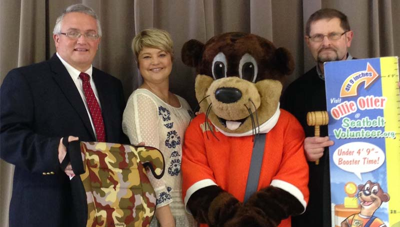 THE DAILY LEADER / JUSTIN VICORY / Judge Chris King, Cindy Richey with the Mississippi Safety Services, Ollie the Otter and Judge Joe Portrey spent Thursday morning informing school children and their parents on a new booster seat law at Loyd Star Attendance Center.