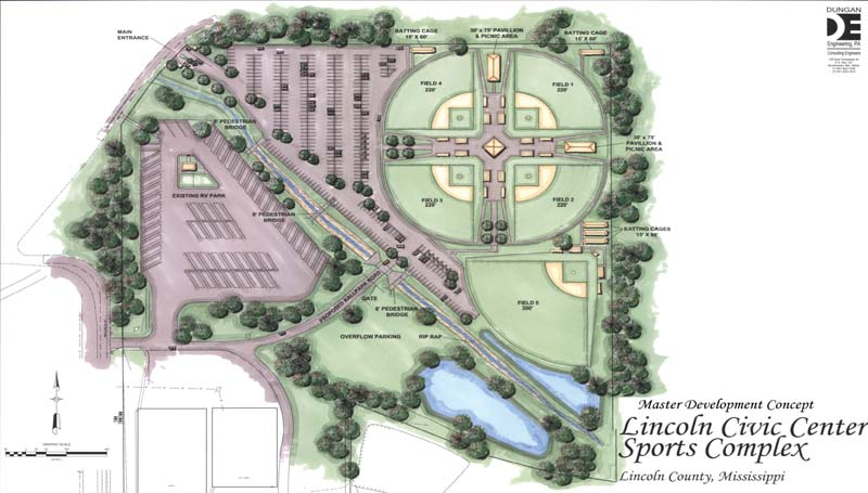 An architectural rendering shows the five lighted fields planned for the facility. The complex also would include five batting cages, a two-story concession stand with a press box area and bathrooms, two covered pavilions and a parking area.