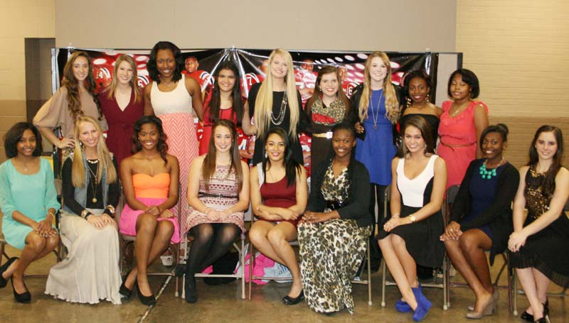 DAILY LEADER / MARTY ALBRIGHT / BHS CHEERS - Brookhaven's cheerleaders were recognized during Thursday night's BHS Football Awards Banquet. They are (from left, seated) Aaliyah Butler, Madison Johnson, Jewel Newton, Audrey Montalvo, Georgette Faust, Imani Quinn, Flynn Phillips, Tenaya Williams, Madeleine Meilstrup; (standing) Madison Currie, Katie Grace Culpepper, Shakera Brewer, Jaylynn Thompson, Katherine Shell, Sarah Doty, Carly Barker, Lakera Newson and Nadia Smith.