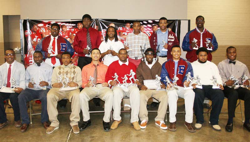 "DAILY LEADER / MARTY ALBRIGHT / Brookhaven Panthers receiving special awards at Thursday night's Ole Brook Football Banquet were (from left, seated) Tyrus Daniels, Scholastic Award, All-Region; Billy Thomas, Most Valuable Defensive Back, All-Region; Tre McDaniel, Most Valuable Offensive Back, All-Region; Javontae Trevillion, All-Region; Ty Hill, Team Captain, Stan Patrick ""Boom Award, Region 3-5 Most Valuable Linebacker, MAC All-State; Jermone Kelly, Most Valuable Player, All-Region; Fred Trevillion, Team Captain, Region 3-5 Most Valuable Athlete, MAC All-State; Anthony Wilson, Most Valuable Offensive Lineman, Region 3-5A Most Valuable Offensive Lineman; Leo Lewis, Most Valuable Linebacker, Region 3-5A Most Valuable Linebacker, MAC All-State; (standing) Marquez Gibson, Panther Award, All-Region; Chris Calcote, Therell-Tanner Award, All-Region; Jonathan Stepney, Therell-Tanner Award, All-Region; Shuntez Smith, Region 3-5A Most Valuable Wide Receiver; Dedric Smith, All-Region; Keefa Nelson, Panther Award, All-Region."