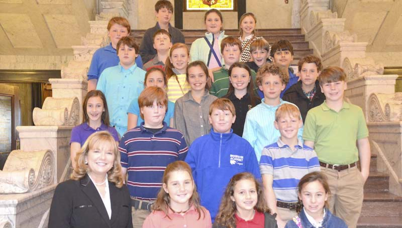 PHOTO SUBMITTED / Rep. Becky Currie (front left) hosted a group of fifth grade students from Brookhaven Academy Wednesday at the state capitol. The students received a tour of the building and also met Gov. Phil Bryant.