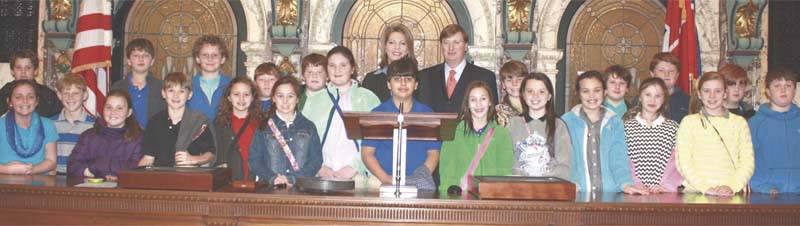 PHOTO SUBMITTED /  The fifth grade class of Brookhaven Academy visited the Capitol for a field trip on Wednesday, Jan. 22, and spoke with Sen. Sally Doty and Lt. Gov. Tate Reeves (back row), who posed for a photo in the Senate Chamber.