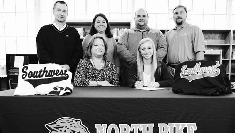 SOUTHWEST MEDIA / North Pike outfielder Jana McEwen has signed a scholarship to play softball for the Southwest Lady Bears next season. Present at the signing were her parents, Cindy and Darren McEwen, North Pike head coach Sonya Wallace, North Pike assistant coach Kris Smith and North Pike athletics director Darryl Brock.