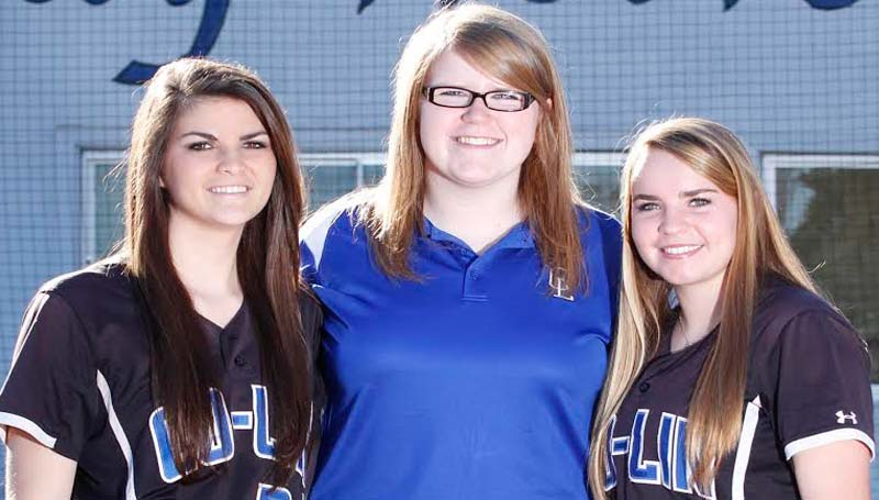 CO-LIN MEDIA / NATALIE DAVIS /  COPIAH COUNTY - Members of the 2014 Copiah-Lincoln Community College Lady Wolves softball team from Copiah County are Kacie Berry (from left) of Hazlehurst, statistician Sarah Claire Armstrong of Gallman, and Meghan Johnson of Utica.