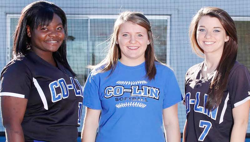 CO-LIN MEDIA / NATALIE DAVIS / LAWRENCE COUNTY - Members of the 2014 Copiah-Lincoln Community College Lady Wolves softball team from Lawrence County are Julian Johnson (from left), manager Sam Lee and Kristen Byrd, all of Monticello