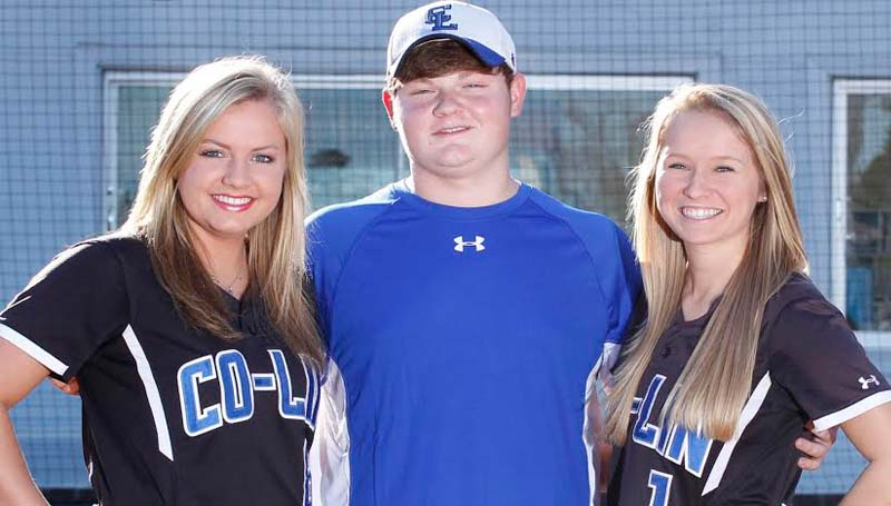 CO-LIN MEDIA / NATALIE DAVIS / PLAYING FOR THE LADY WOLVES - Members of the 2014 Copiah-Lincoln Community College Lady Wolves softball team from Lincoln County are Rheagan Welch (from left) of Bogue Chitto, manager Braxton Foster of Brookhaven, and Adirenne Wallace of Bogue Chitto. The Lady Wolves open their season at home on Friday, Jan. 31, against the Mississippi Delta Lady Trojans. The first game of the doubleheader will begin at noon.