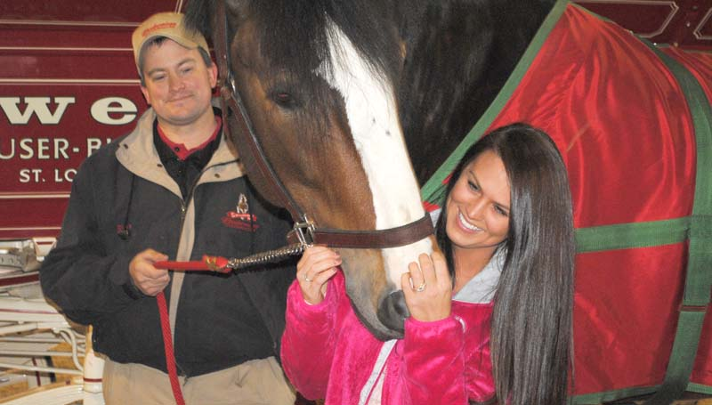 During Monday's session, Tyler Thames (right) gets an up-close-and-personal look at a Clydesdale, as Thomas holds the horse's lead.