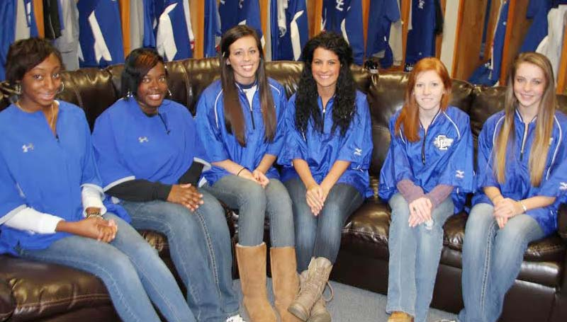 CO-LIN MEDIA / NATALIE DAVIS / DIAMOND DOLLS - Selected as 2014 Diamond Dolls for the Copiah-Lincoln Community College baseball program from Copiah County are from left, Damekia Killingsworth and Dakeidra Mitchell, both of Hazlehurst; Dylann Harris and Shelby Strong, both of Wesson; Leigh Vinzant of Crystal Springs and Taylor Beasley of Wesson. Not pictured are Hannah Dear and Destiny Doster, both of Crystal Springs and Katelynn Meese of Hazlehurst