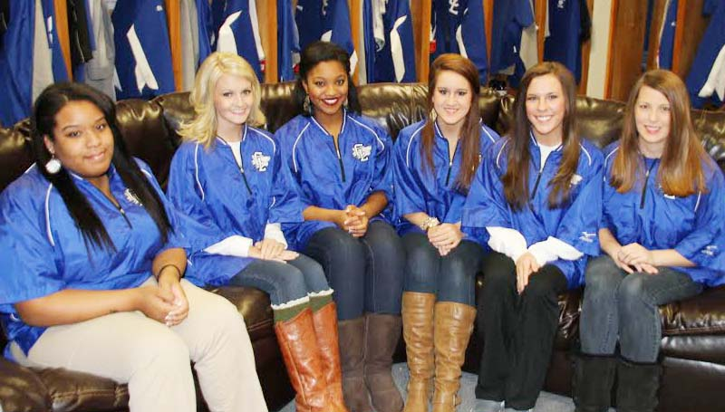 CO-LIN MEDIA / NATALIE DAVIS / DIAMOND DOLLS - Selected as 2014 Diamond Dolls for the Copiah-Lincoln Community College baseball program from Lincoln County are (from left) Cierra Jones of Brookhaven, Paige Smith of Wesson, Alisia Williams of Brookhaven, Shelby Crosby of Bogue Chitto, Ashley Mezzanares and Tori Smith, both of Brookhaven. The Diamond Dolls are an integral part of the Co-Lin baseball program. They serve as hostesses on game days, work in the concession stands and give campus tours to recruits.