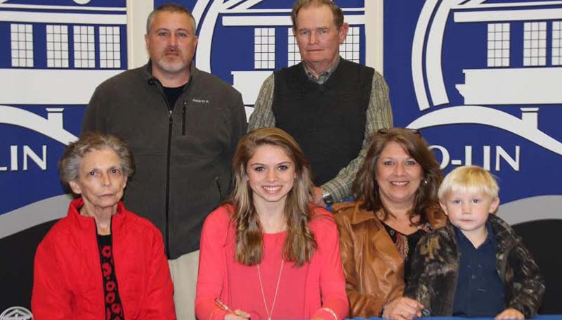 CO-LIN MEDIA / NATALIE DAVIS / Bogue Chitto softball standout Mattie Avants (seated center) signs to play with the Co-Lin Lady Wolves. Present for the signing were seated from left, Billie Reeves, grandmother; Avants, Tiffany Avants, mother and Tripp McDowell, nephew; standing from left, Bogue Chitto softball coach Scott Leggett and Mickey Reeves, grandfather.