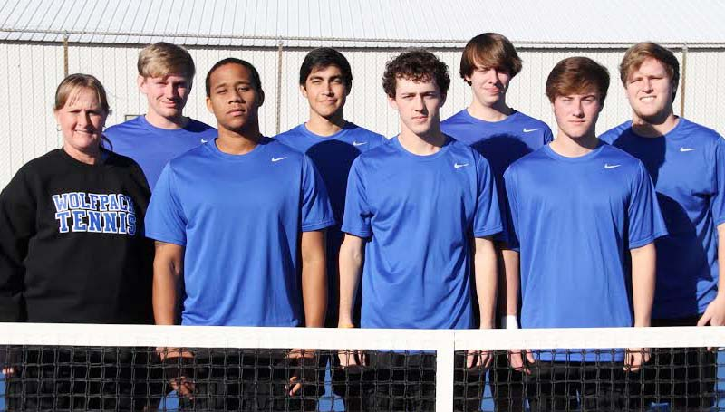 CO-LIN MEDIA / PLAYING FOR THE WOLVES - Members of the 2014 Copiah-Lincoln Community College men's tennis team are front row from left, Coach Brenda Smith, Dwain Perkins of Natchez, Coleman Carraway of Brandon, Graham Watson of Brookhaven; second row from left, Brandon Nettles, Steve Del Cid, Brock Smith, and Josh Smith, all of Wesson. Co-Lin begins regular season play on Feb. 17, at East Central Community College in Decatur.
