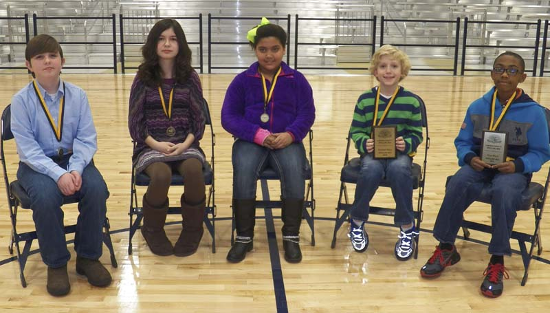 PHOTO SUBMITTED / The top five winners of the district wide spelling bee were Caleb Sasser from West Lincoln (from left), Faith Carpenter from Bogue Chitto, Sydney Richardson from Brookhaven Elementary, Sam Allen from Lipsey and Brandon Ashmore from Alexander Junior High.