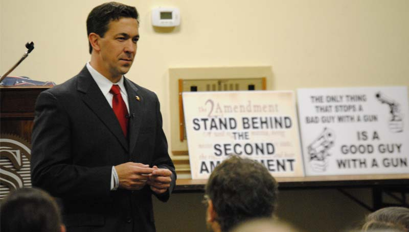 THE DAILY LEADER / RHONDA DUNAWAY / Mississippi state Sen. Chris McDaniel stopped in Brookhaven to talk to Tea Party members Monday about conservative issues. McDaniel is running against U.S. Sen. Thad Cochran in the primaries set for June 3 to decide which Republican will run for the U.S. senate seat.