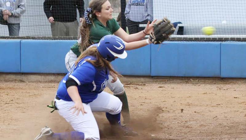 CO-LIN MEDIA / NATALIE DAVIS / Co-Lin's Breanna McKenzie slides safely into home plate as Shelton State catcher waits on the throw Tuesday.