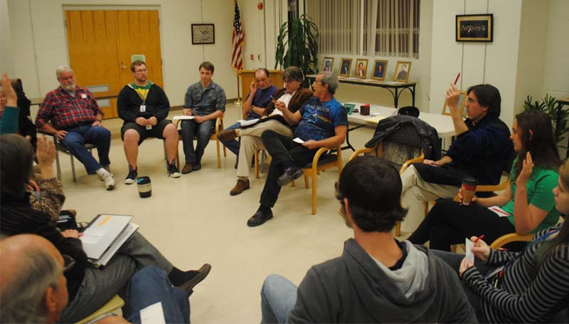 THE DAILY LEADER / JUSTIN VICORY / The introductory gathering of the Brookhaven Socrates Café Thursday evening led to discussion over philosophical concepts and ideas such as free will, equality and determinism.