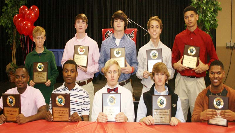 DAILY LEADER / MARTY ALBRIGHT /  Brookhaven Panthers receiving special awards at Thursday night's Ole Brook Soccer Banquet were (from left, seated) Darrius Pendleton, Coaches Award; Quinn Cooper, Most Improved Offensive Player; Ben Stroud, Scholastic Award; Myles Tipton, Most Valuable Defensive Player; Zach Wilson, Overall Most Valuable Player; (standing) Will Moak, Junior Varsity MVP; Caleb Owens, Most Valuable Offensive Player; Michael Lambert, Hustle Award; Jacob Bozeman, Rookie of the Year Award; Scottie Tate, Most Improved Defensive Player.