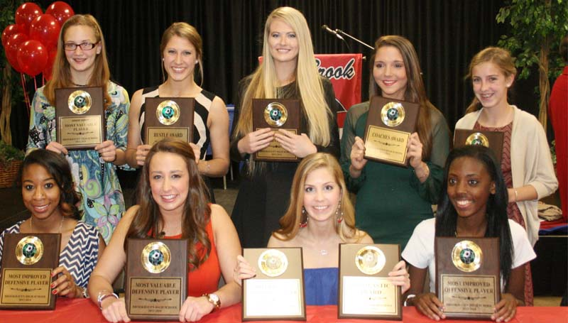 DAILY LEADER / MARTY ALBRIGHT /  Brookhaven Lady Panthers soccer awards went to (seated, from left) Quenetta Wilson, Most Improved Defensive Player; Audrey Montalvo, Most Valuable Defensive Player; Andie Netherland, Scholastic Award, Most Valuable Offensive Player; Breanna Smith, Most Improved Offensive Player; (standing) Bree Allen, Junior Varsity MVP; Katie Grace Culpepper, Hustle Award; Katherine Shell, Overall Most Valuable Player; Fallon Brooks, Coaches Award; Kat Wallace, Rookie of the Year Award.