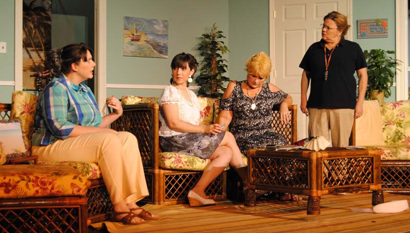 "THE DAILY LEADER / MATTHEW COLEMAN / Deanna Ezell (from left), Shelley Harrigill, Julie Perry and Sue Junkin rehearse a scene from Brookhaven Little Theatre's upcoming production of ""Dixie Swim Club."""